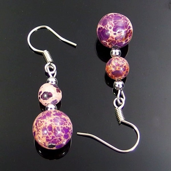 Purple Sea Sediment Jasper Natural Gemstone Silver Plated Earrings