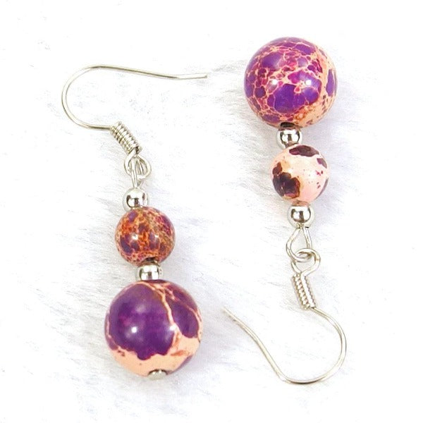 Purple Sea Sediment Jasper Natural Gemstone Beads Silver Plated Dangle Earrings
