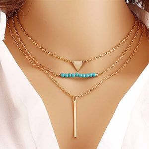 3 Layer Triangle Blue Beads Gold Bar Gold Tone Necklace