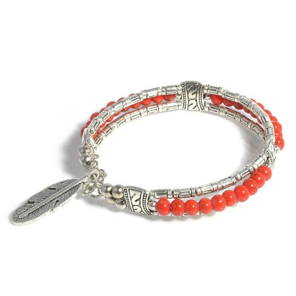 Red Beaded Bohemian Feather Silver Bangle Bracelet Size Small