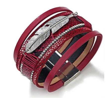 Red Faux Leather & Silver Alloy Feather Charm Wide Magnetic Bracelet