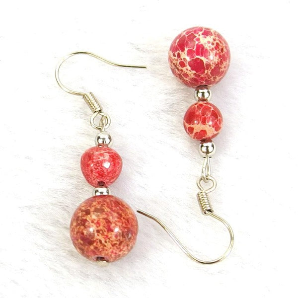 Red Sea Sediment Jasper Natural Gemstone Beads Silver Plated Dangle Earrings