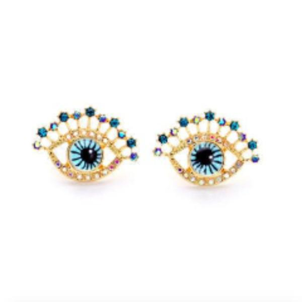 Betsey Johnson Evil Eye Crystal Rhinestone Earrings