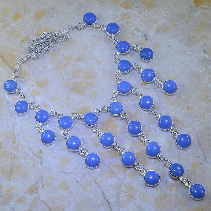 BLUE CHALCEDONY .925 SILVER PLATED GEMSTONE NECKLACE 19 3/4