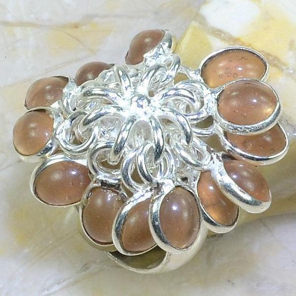 PEACH QUARTZ .925 SILVER PLATED DANGLE RING SIZE 7 3/4