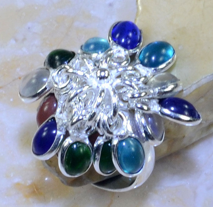 Multi-Colored Gemstone .925 Silver Plated Dangle Ring Size 9