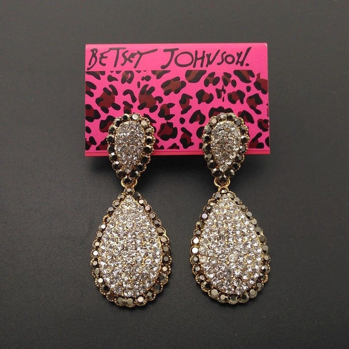 Betsey Johnson Double Teardrop Crystal Gold Rhinestones Earrings
