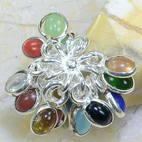 Multi-Color Gemstone .925 Silver Plated Dangle Stone Ring Size 5 3/4