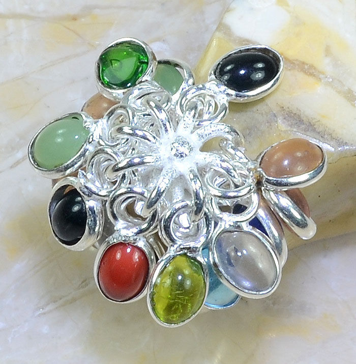 Handmade Dangle Gemstone Silver Plated Ring Size 7.5