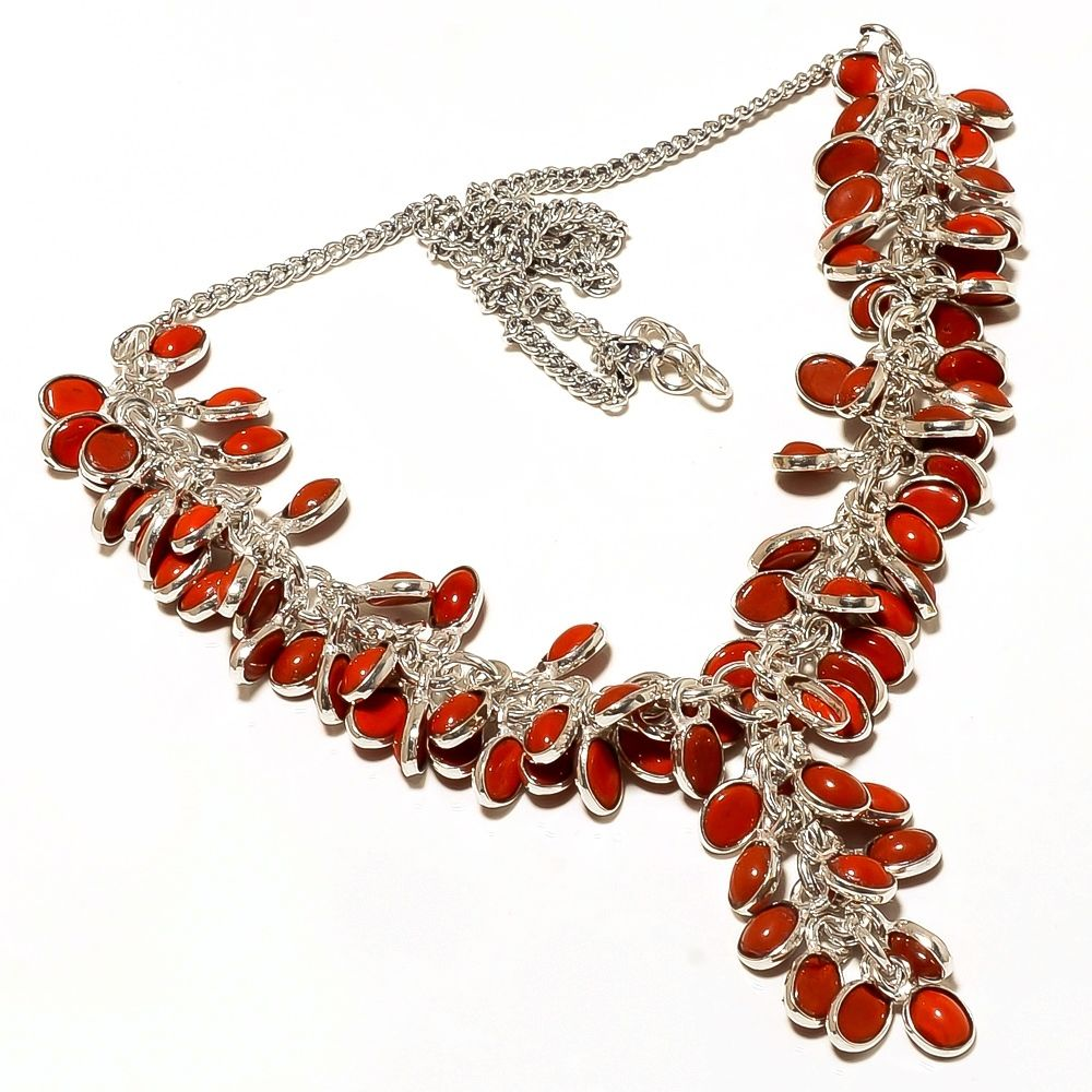 Coral Colored Stones Sterling Silver Overlay Handmade Designer Necklace 19""