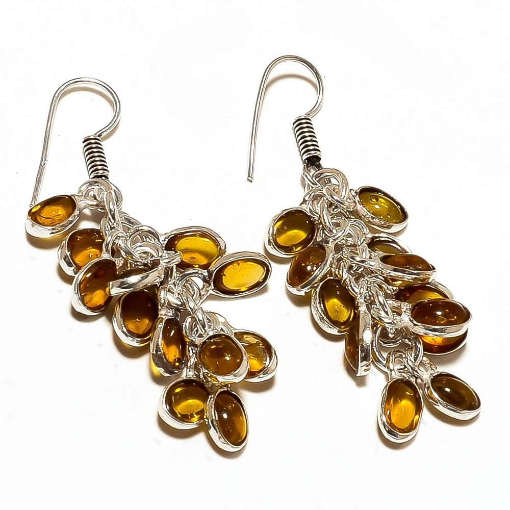 Lemon Topaz & Sterling Silver Overlay Handmade Designer Earrings 2""