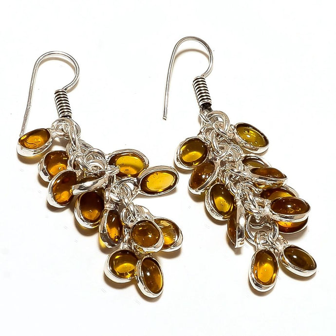 Lemon Topaz & Sterling Silver Overlay Handmade Designer Earrings 2