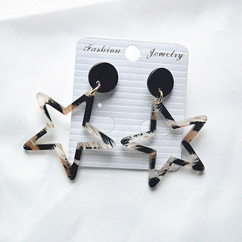 Star Geometric Animal Print Acrylic Earrings