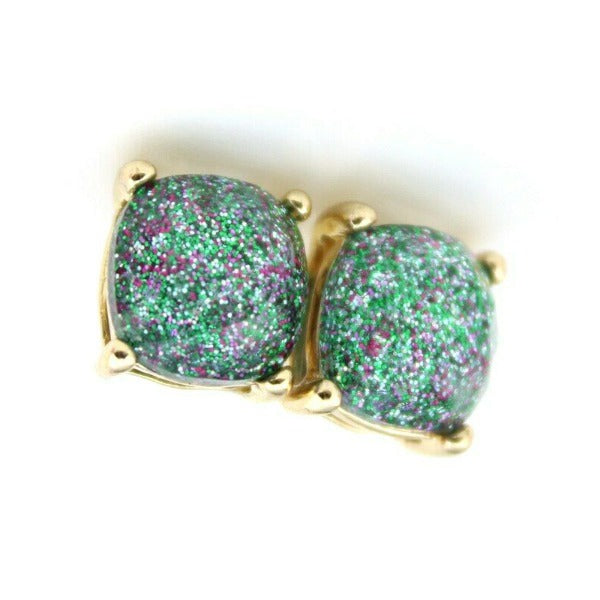 Green Glitter Gold Tone Earrings