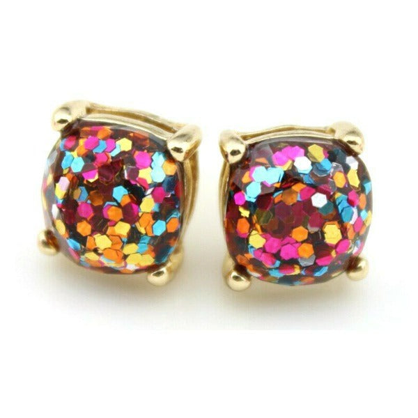 Rainbow Glitter Gold Tone Earrings