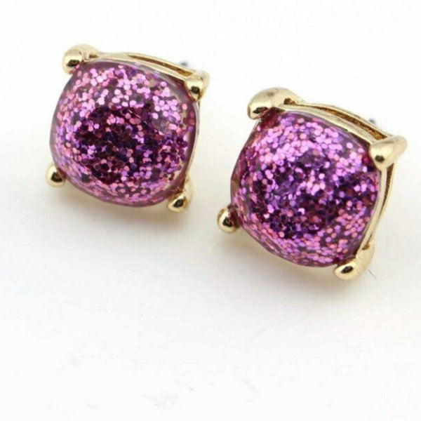 Purple Glitter Gold Tone Earrings