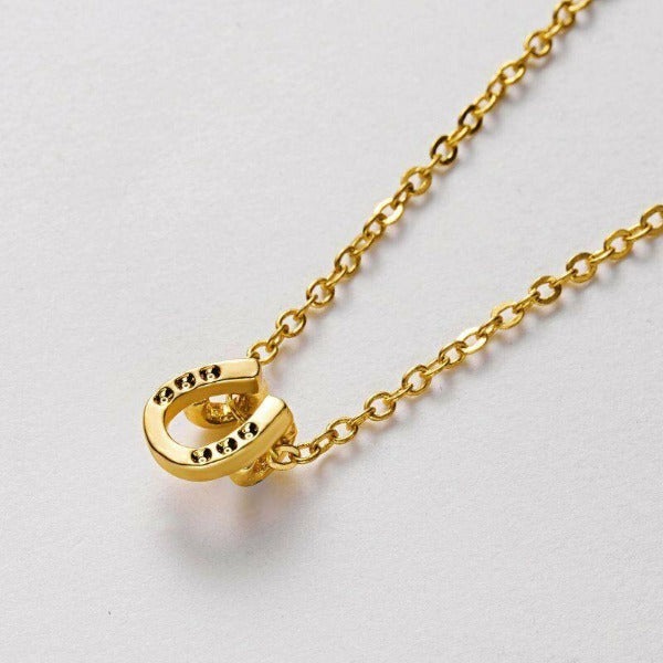 Lucky Horseshoe Note Card Gold Necklace