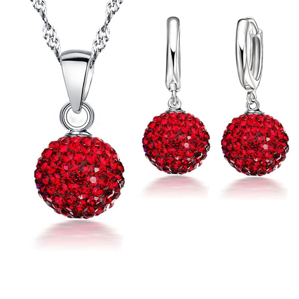 Red Crystal Disco Ball Silver Necklace & Earrings Set