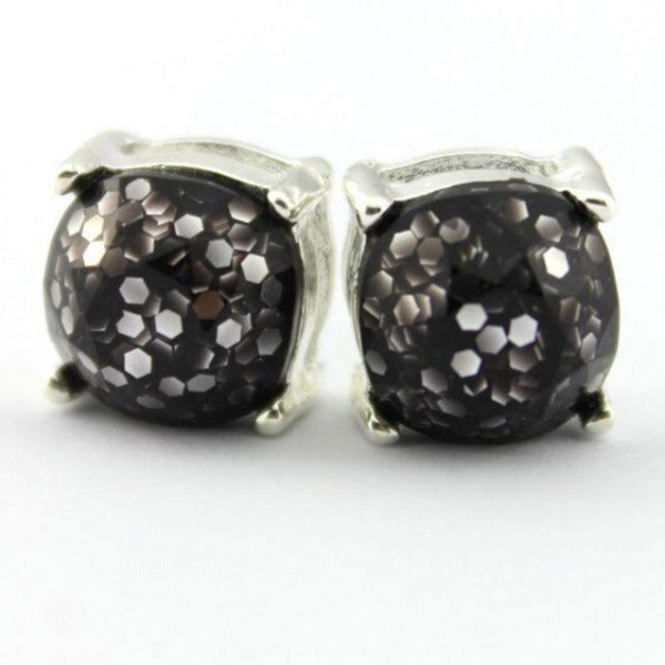 Black Glitter Silver Tone Earrings
