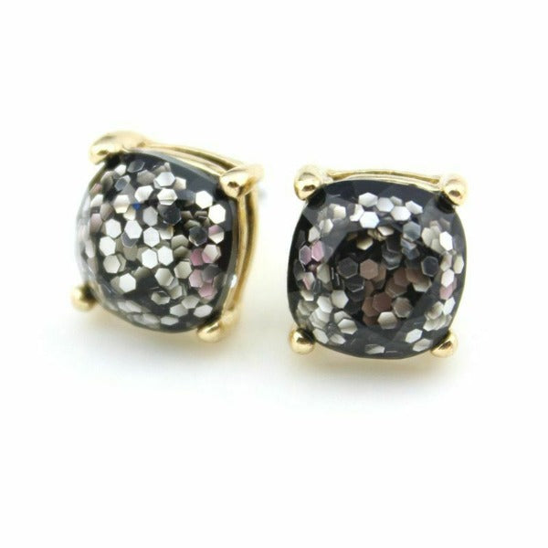 Black Glitter Gold Tone Earrings