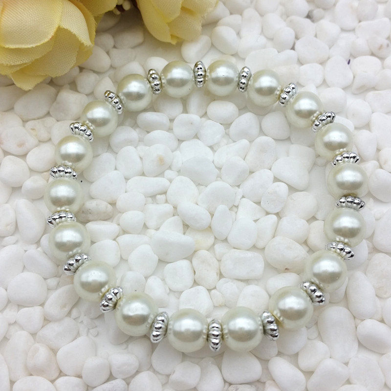 White Colored 8mm Faux Pearl Beads Stretch Bracelet