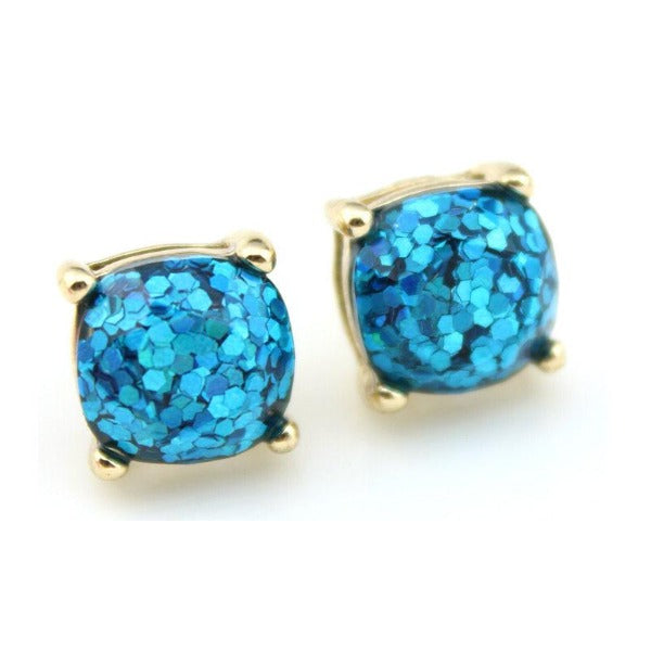 Aqua Blue Glitter Gold Tone Earrings