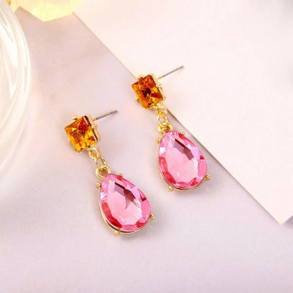 2 Stone Teardrop Pink & Orange Rhinestone Earrings