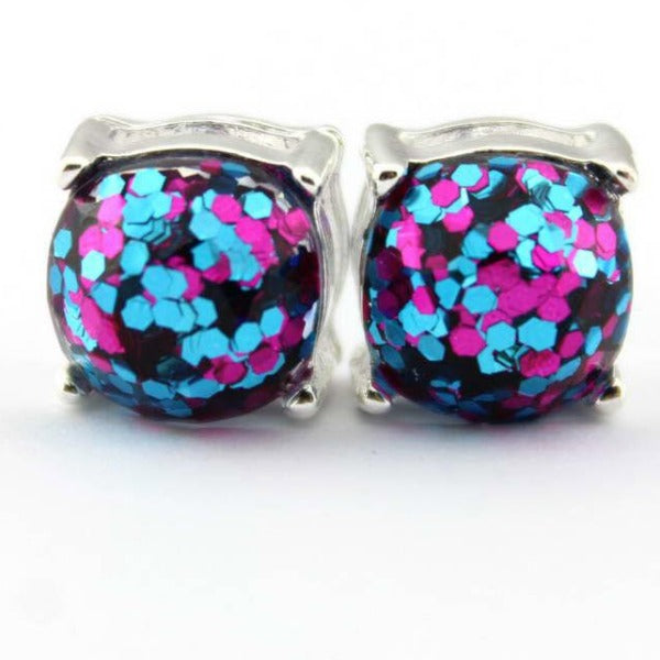 Hot Pink Glitter Silver Tone Earrings