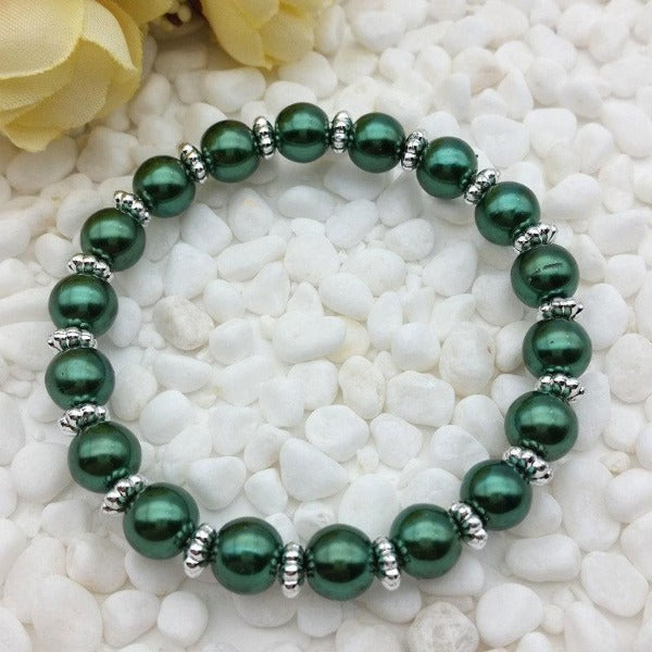 Deep Green Water 8mm Faux Pearl Beads Stretch Bracelet