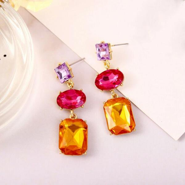 3 Stone Purple Pink Orange Crystal Rhinestone Dangle Earrings