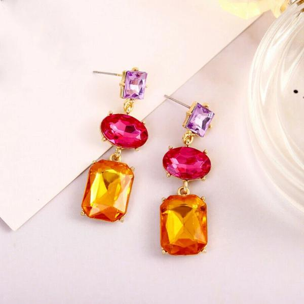 3 Stone Crystal Earrings