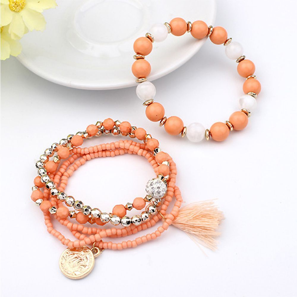 Orange Beads 6 Piece Bohemia Style Multi-layer Gold Coin Tassel Bracelet