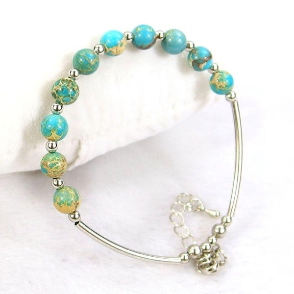 Turquoise Blue Sea Sediment Jasper Beads Adjustable Bended Tube Bracelet
