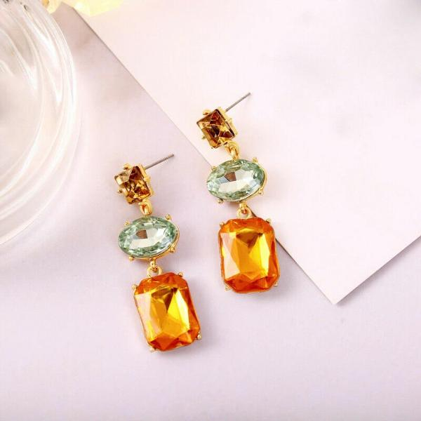 3 Stone Green Orange Champagne Rhinestone Dangle Earrings