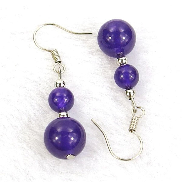 Indigo Jade Natural Gemstone Earrings