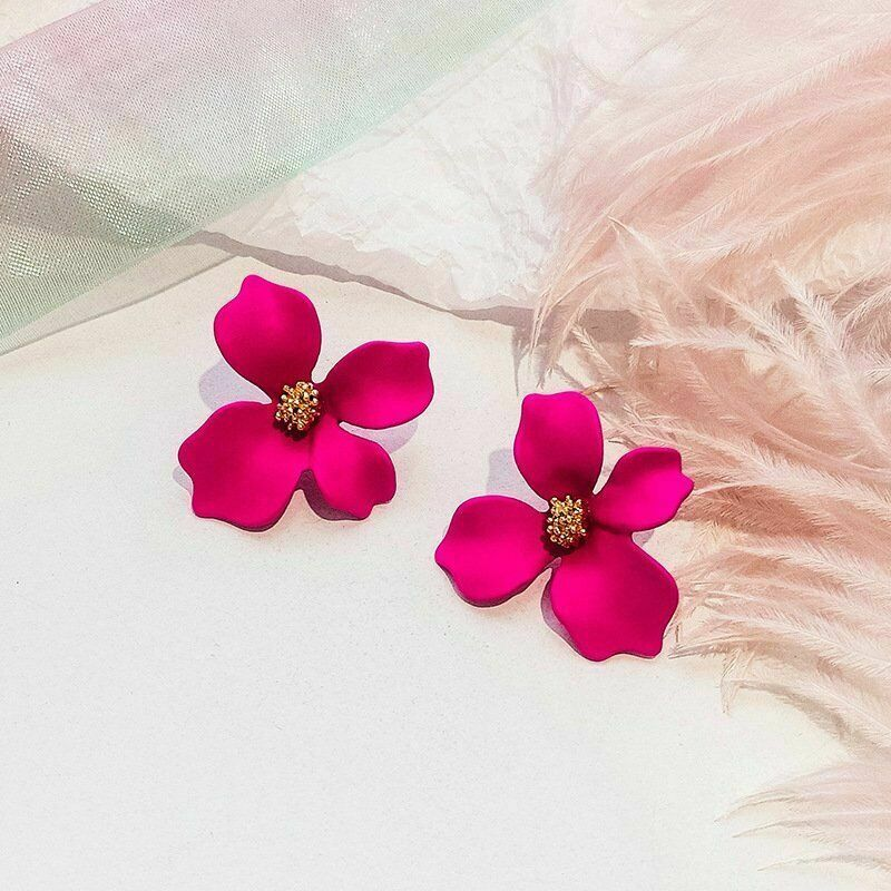 Fuchsia Pink Flower Earrings