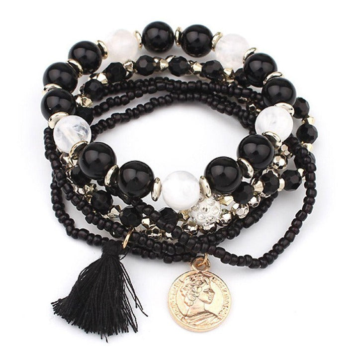 Black Beads 6 Piece Multi-Strand Gold Coin Tassel Bracelet