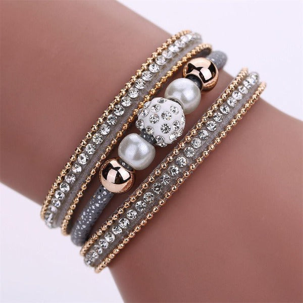 Gray Crystal Faux Pearl Rhinestone Beaded Leather Magnetic Bracelet