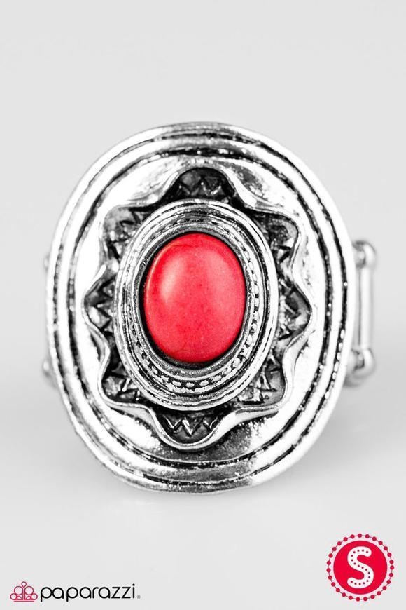 """A Tribal Affair - Red"" Silver Sunburst Stretch Ring"