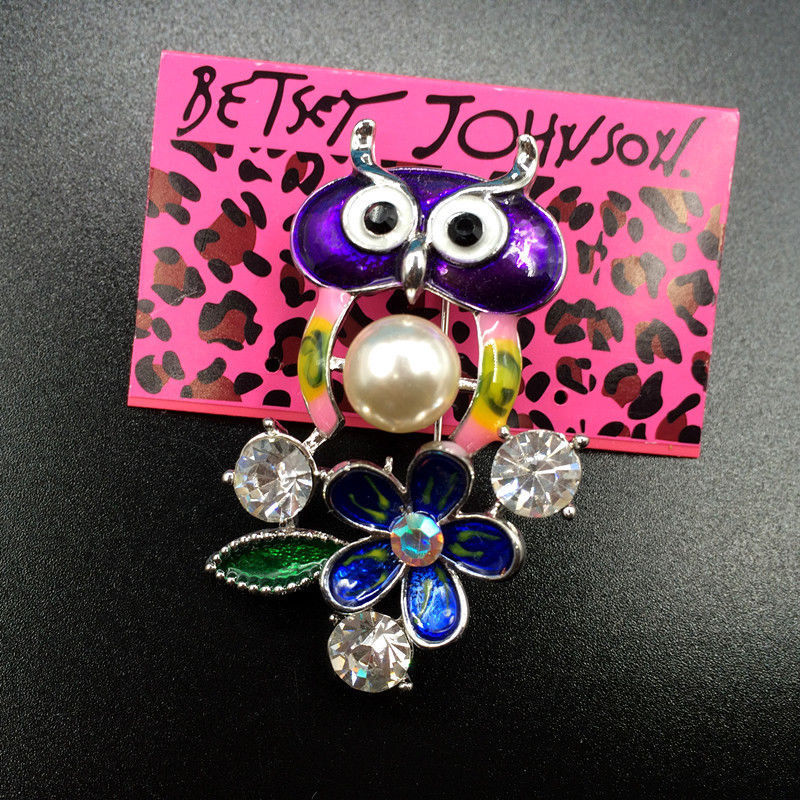 Betsey Johnson Multi-Color Enamel Rhinestone Owl Flower Silver Brooch Pin