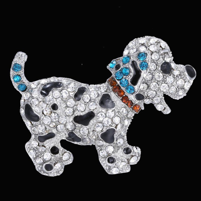 Puppy Dog Spotted Red Collar Rhinestone Brooch Pin