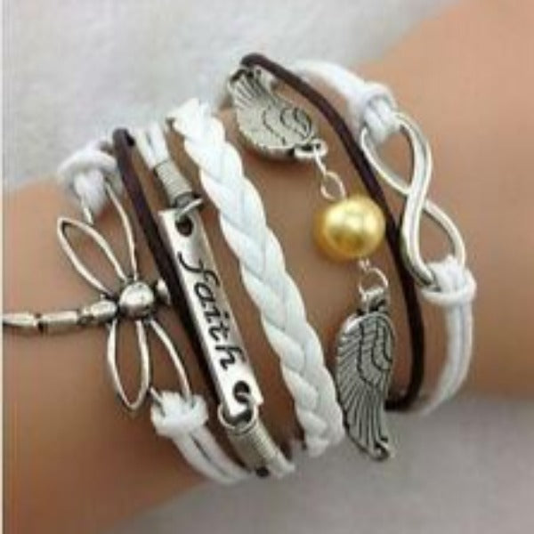 Dragonfly, Faith, Wings, Infinity, White, Silver Friendship Bracelet