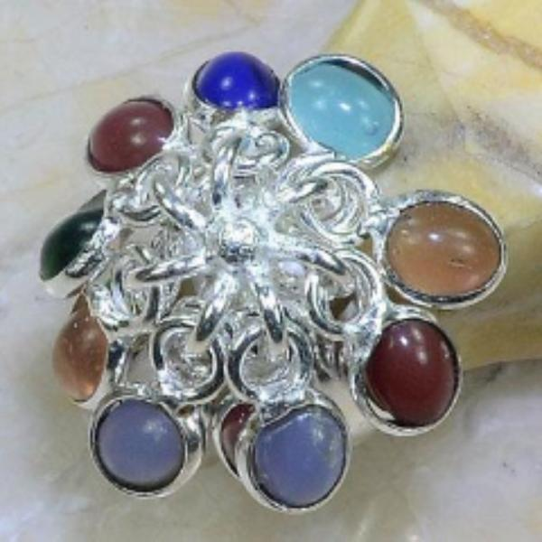 Multi-Color Gemstone Silver Plated Dangle Ring Size 8.5