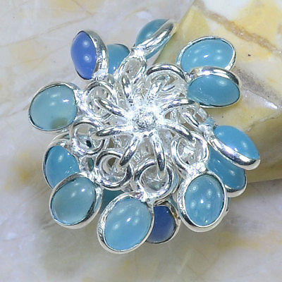 CHALCEDONY OVAL STONE .925 SILVER PLATED DANGLE RING SIZE 8 1/2