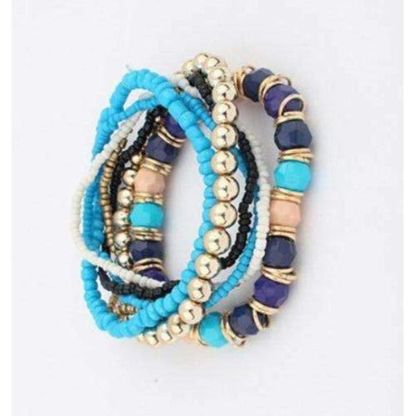 7 Piece Blue CHIC Boho Multilayer Acrylic Beads Beach Bracelets