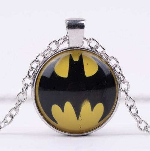 Batman Glass Cabochon & Tibetan Silver Chain Pendant Necklace