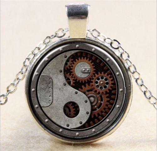Vintage Steampunk Hour Wheel Cabochon Tibetan Silver Glass Necklace
