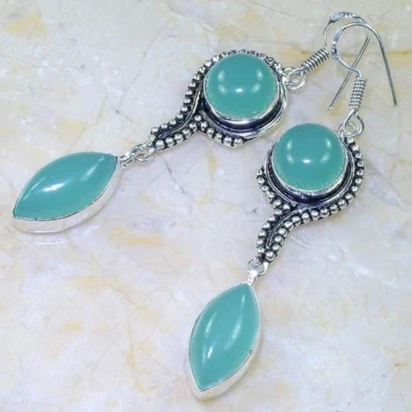"BLUE CHALCEDONY GEMSTONE 3"" ORNATE SILVER DANGLE EARRINGS"
