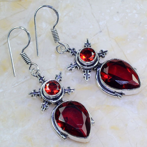 "RED GARNET 2 1/4"" ORNATE SILVER PLATED DANGLE EARRINGS"