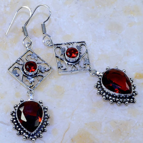 RED GARNET TEARDROP ORNATE SILVER PLATED DANGLE EARRINGS 2 3/4""